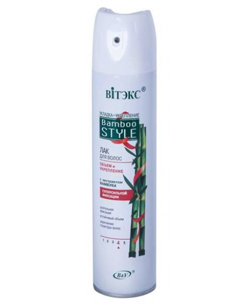 Лак для волос аэрозольный Bamboo Style ЛАК для ВОЛОС объем и укрепление с экстрактом бамбука С/с фиксации, 300мл