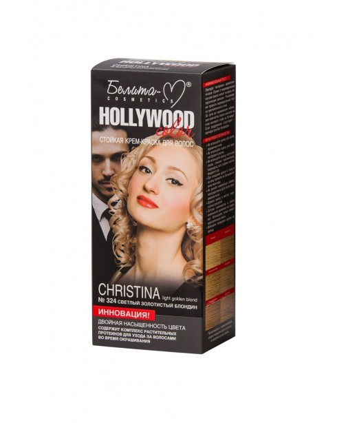 КРЕМ-ФАРБА стійка для волосся Hollywood color_ тон 324 Christina (світлий золотистий блондин)