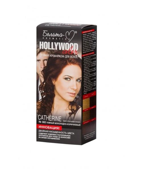 КРЕМ-КРАСКА стойкая для волос Hollywood color_ тон 382 Catherine (темный шоколадно-коричневый)