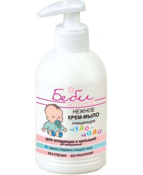 БЕБІ АПТЕКА чудо-чадо_Ніжне КРЕМ-МИЛО очищаюче для немовлят і малюків, 300 мл