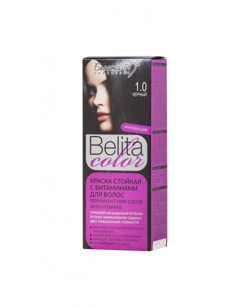 КРАСКА стойкая с витаминами для волос Belita сolor_ тон 01.0 Черный