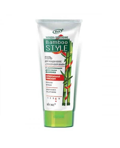 """Bamboo Care+Style_Гель для укладки волос """"Прикорневой объем"""" с укрепляющим действием бамбука суперсильной фиксации, 150 мл"""