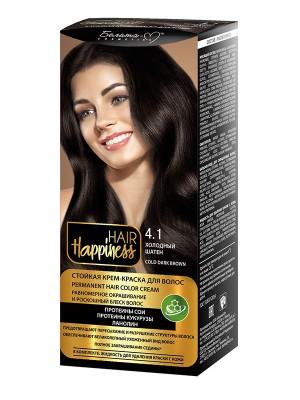 КРЕМ-ФАРБА Аміачна для волосся HAIR Happiness_ тон 04.1 Холодний шатен