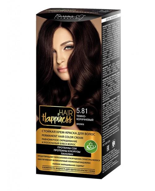 КРЕМ-ФАРБА Аміачна для волосся HAIR Happiness_ тон 05.81 Темно-коричневий