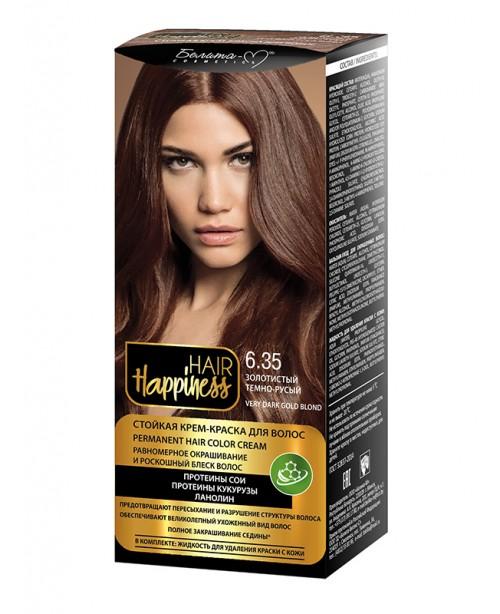 КРЕМ-ФАРБА Аміачна для волосся HAIR Happiness_ тон 06.35 Золотистий темно-русявий