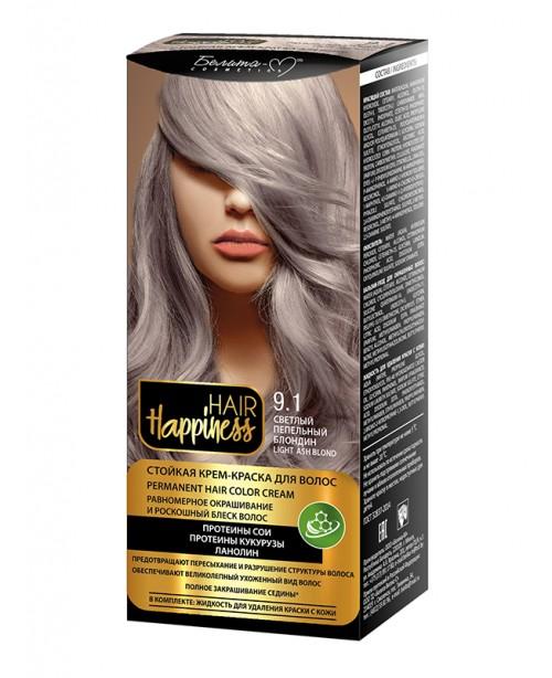 КРЕМ-ФАРБА Аміачна для волосся HAIR Happiness_ тон 09.1 Світлий попелястий блондин