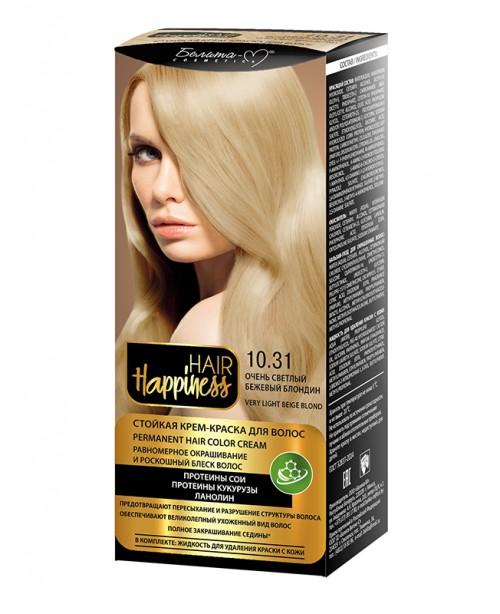 КРЕМ-ФАРБА Аміачна для волосся HAIR Happiness_ тон 10.31 Дуже світлий бежевий блондин