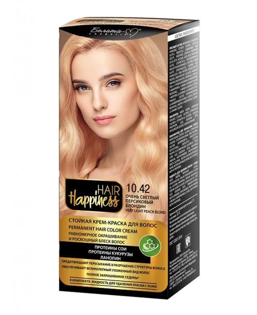 КРЕМ-ФАРБА Аміачна для волосся HAIR Happiness_ тон 10.42 Дуже світлий персиковий блондин