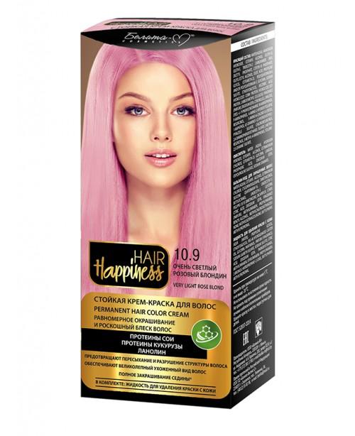 КРЕМ-ФАРБА Аміачна для волосся HAIR Happiness_ тон 10.9 Дуже світлий рожевий блондин