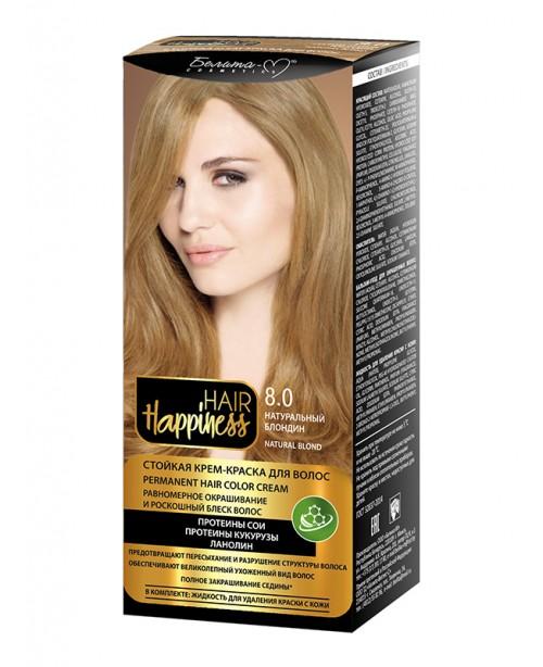 КРЕМ-ФАРБА Аміачна для волосся HAIR Happiness_ тон 08.0 Натуральний блондин
