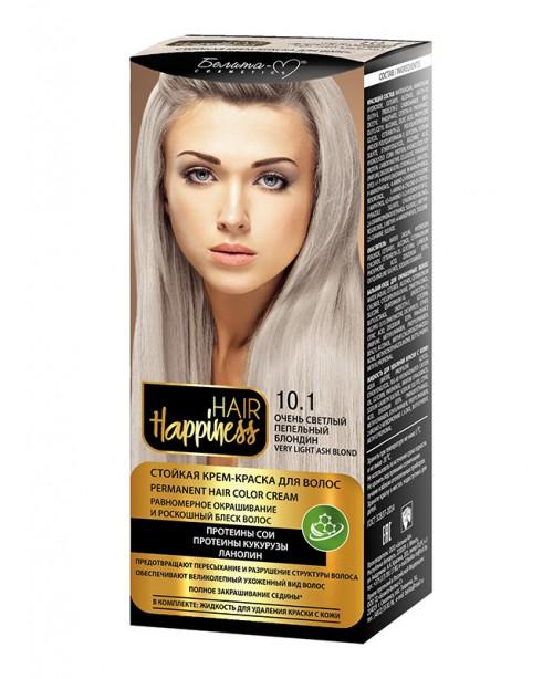 КРЕМ-ФАРБА Аміачна для волосся HAIR Happiness_ тон 10.1 Дуже світлий попелястий блондин