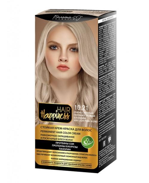 КРЕМ-ФАРБА Аміачна для волосся HAIR Happiness_ тон 10.21 Дуже світлий перламутровий блондин