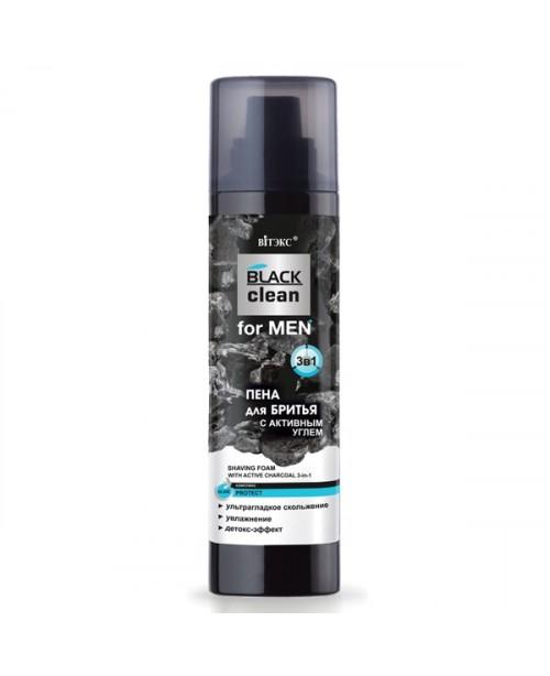 BLACK CLEAN FOR MEN_ ПІНА для гоління з активним вугіллям 3в1, 250 мл