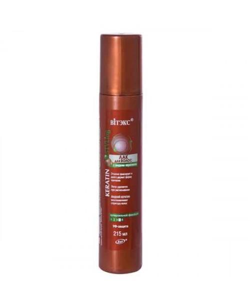 KERATIN STYLING ЛАК для волос  с жидким кератином СУПЕРСильной фиксации, 215мл