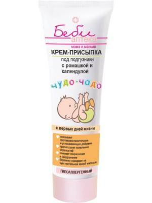БЕБІ АПТЕКА чудо-чадо_КРЕМ-ПРИСИПКА під підгузки з ромашкою і календулою Мама і малюк, 75 мл