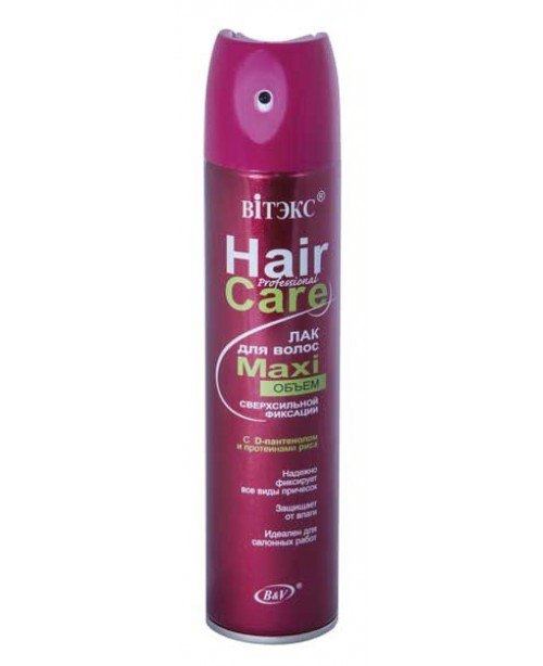 Лак для волос аэрозольный  Hair Care Professional ЛАК для ВОЛОС MAXI объем Сверхсильной фиксации,300мл